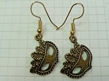 """Earring On Gold Plated Hooks Old Gold Bronze Plated""""Corn Mask"""""""