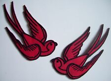 2 red black sparrow swallow iron on patch rockabilly punk bird - 30