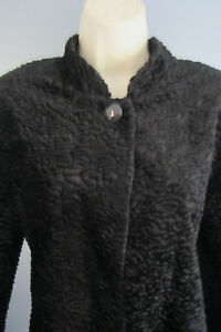 Alfred Dunner Evening Jacket Black Chenille Textured Short Cape Button Top 16P