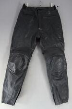 ASHY AMX BLACK PRIME HIDE LEATHER BIKER TROUSERS: WAIST 34 IN/INSIDE LEG 30 IN