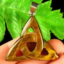 36x36x6mm Carved Tiger Eye Gem Triangle Pendant Bead S16594
