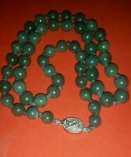 """Antique Imperial Green Jade Beaded 28"""" Necklace With Sterling Silver Hasp"""