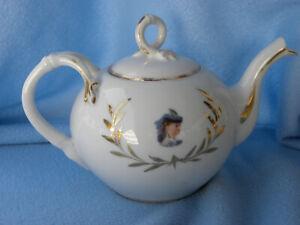 Porzellan Teekanne antik um 1900 unbeschädigt ,Farbabrieb , ges.16cm hoch