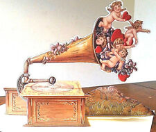 3D Valentine Card CUPIDS GRAMOPHONE Standing Display Rare! MINT SEALED Shackman