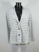 MARC CAIN Damen Jacke Gr 44 N6 Weiß Grau Gestreift Neu mit Etikett  ( R 4554 )