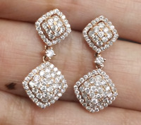 DEAL! 1.25CT NATURAL ROUND DIAMOND CLUSTER DANGLE EARRINGS IN 14K ROSE GOLD 24MM