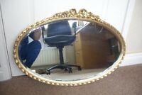 Vintage Large Oval Gilt Mirror. 72 cm x 44 cm.