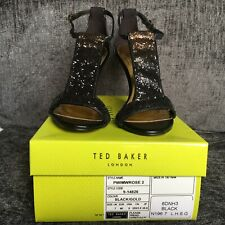 Ted Baker Shoes Black Size 7 Pwimwrose 2 Glittery Sandals NEW Wedding Races