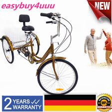 24 Zoll Tricycle Erwachsene Dreirad 6-Gang Trike Fahrräder mit Einkaufskorb