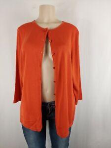 Coldwater Creek orange burnt  Silk Blend Knit button  Cardigan  Womens XL