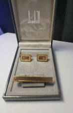 Vintage Dunhill, Gold Plated Cufflinks Tie Clip boxed