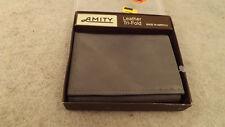 Vtg Amity Leather Bi-Fold Wallet Billfold ~~Gray~~ USA Made