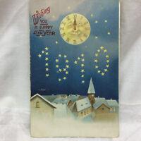 Vintage Postcard Embossed Happy New year greeting 1910 Unused