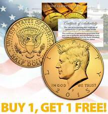 24K GOLD PLATED 2015 JFK Kennedy Half Dollar Coin w/Capsule * BUY 1 GET 1 * BOGO