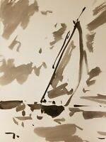 JOSE TRUJILLO Impressionism Black INK WASH on Paper Sailboat Dramatic Sky DECOR