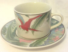 LYNNS STONEWARE CUP AND SAUCER AMAZON JUNGLE PARROT TROPICAL SWANN LOGO CHINA EC