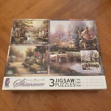 Ceaco Thomas Kinkade Shimmer 3 in 1 Box Puzzles SEALED 100, 300 & 500 piece