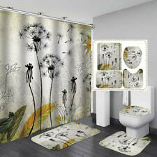 Dandelion Art Shower Curtain Bath Mat Toilet Cover Rug Bathroom Decor