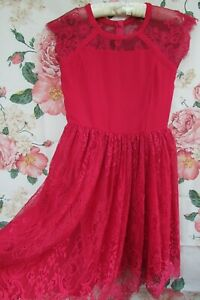 Deep Red Pink Embellished Bridesmaid Party Occasion Dress 12-13 MONSOON £60