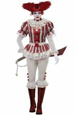 Adult Sadistic Clown Costume Creepy Pennywise Killer Big Top Circus Large 10-12