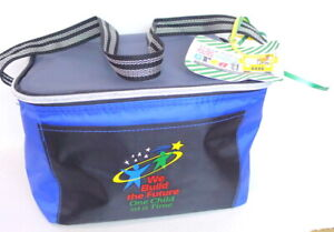 We Build the Future One Child at a Time Logo Black and Blue Zip Up Lunch Bag