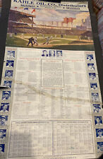 New listing  1939 BASEBALL~MOBILGAS~17x31 STATISTIC POSTER W/DIMAGGIO~TED WILLIAMS~BABE RUTH+