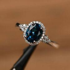 2Ct Oval Cut Blue topaz Halo Engagement Wedding Band Ring 18K White Gold Finish