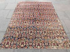 Antique Fragment Traditional Hand Made Oriental Wool Blue Red Carpet 246x180cm