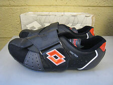 NOS Lotto 1500 Trek Leather Bicycle Cycling Racing Shoes Size 7.5 Black Vintage