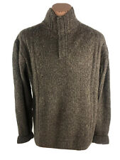 EQ Equilibrio Mens XXL Cashmere Wool Sweater Cable Knit Brown 1/4 Button NWT E4