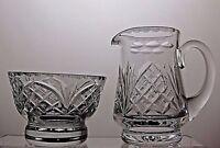 LOVELY CUT GLASS LEAD CRYSTAL SUGAR BOWL WITH MILK / CREAM JUG