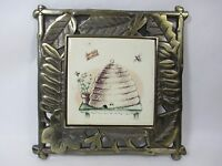Solid Antique Brass Toned Solid Cast Iron Metal Tile Hanging Wall Trivet Nature