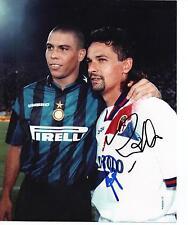 Roberto Baggio & RONALDO autentico mano firmato foto 10 x 8 AUTOGRAPH (1249)