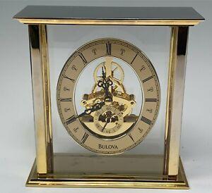 Bulova Quartz Mantle Desk Clock, Skeleton Type in Glass Case