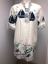 Antica Sartoria Printed Cover Up Tunic Top Dress Signed Beach Italy Chic S-M