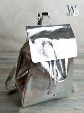 Ital. designer Damenrucksack City echt Leder SILBER Metallic Rucksack 835S