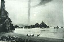 APACHE NAVAJO CHEROKEE INDIANS CANOE CAMPFIRE ON LAKE ~ Old 1888 Landscape Print