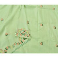 Sanskriti Vintage Green Saree Blend Silk Hand Embroidered Craft 5 Yd Fabric Sari