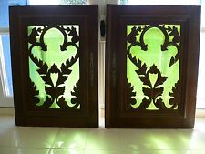 A PAIR OF ANTIQUE, FRENCH,  GLAZED, CARVED FLORAL PATTERN WOODEN WALL HANGINGS,