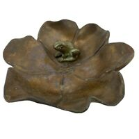 McClelland Barclay Bronze Flower And Mini Frog Lillypad Paperweight Figurine