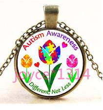 Autism Spectrum Tulip Cabochon bronze Glass Chain Pendant Necklace TS-4014