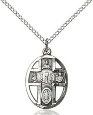Sterling Silver First Communion 5-Way Chalice Pierced Round Medal, 3/4 Inch