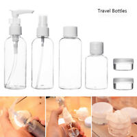 9pc Travel Bottles Set 100ml Spary Lotion Plastic Cosmetic Pots Containers Empty