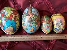 Four Vintage German Paper Mache Easter Eggs. Lovely graphics!