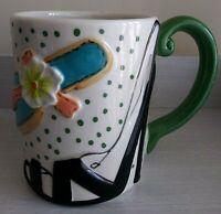 Authentic Stoneware Embossed Green Polka Dot Shoe Sandal Heel Flip-Flop Mug