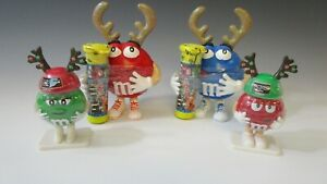 Vintage M & M Mars Reindeer Figurine Candy Toppers Holiday Collectible SET 4