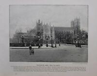 1896 London Aufdruck + Text Westminster Abbey Von The North