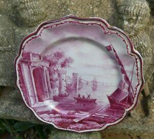 Alfred Renoleau assiette décor de Marseille camaïeu rose bon état 24cm diamètre