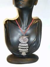 LARGE ARTICULATED OWL PENDANT ON RED SUEDE NECKLACE - FREE UK P&P.....CG1436