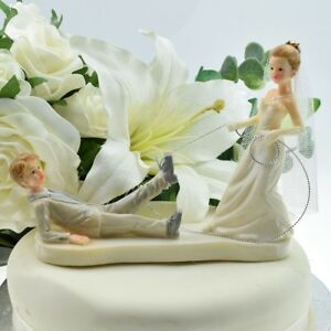 Bride Dragging Groom with Rope - Fun Bride and Groom Wedding Cake Topper